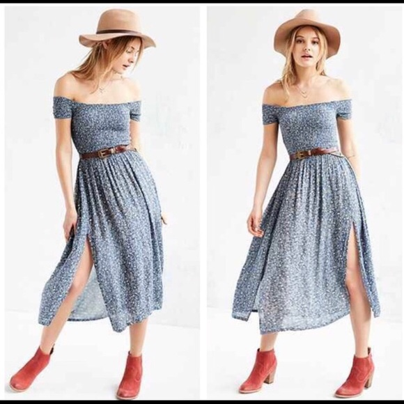 2ce55b5d3 Urban Outfitters Dresses | Uo Kimchi Blue Smocked Off The Shoulder ...